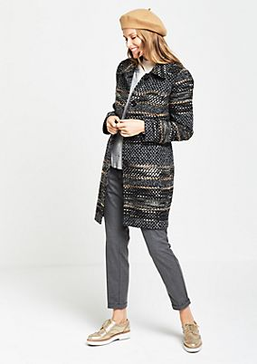 Bouclé coat with an elegant pattern from comma