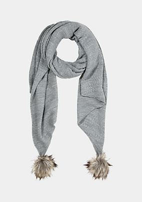 Knit scarf with fake fur pompoms from comma