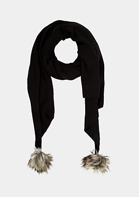 Knit scarf with fake fur pompoms from s.Oliver