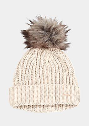 Pudelmütze aus Strick mit Fake-Fur Bommel
