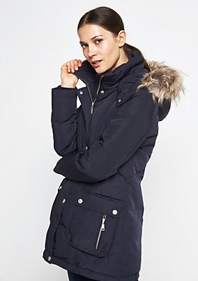 Warm down parka with a hood from comma