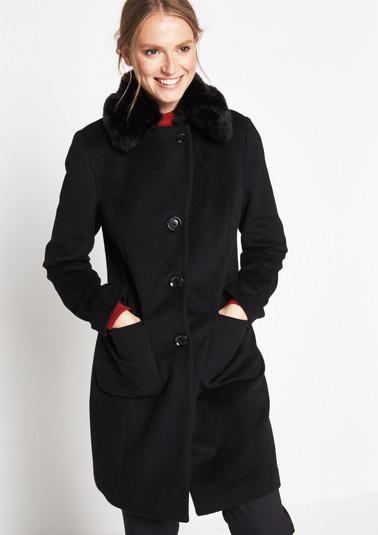Warmer Mantel mit Fake-Fur Besatz