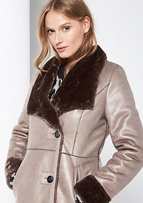 Winter coat in soft faux leather from comma