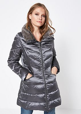 Soft down coat with a faux fur trim from comma