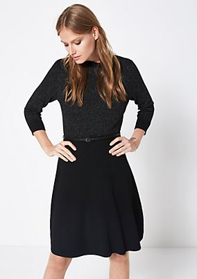 Knit dress with interwoven glitter yarn from comma