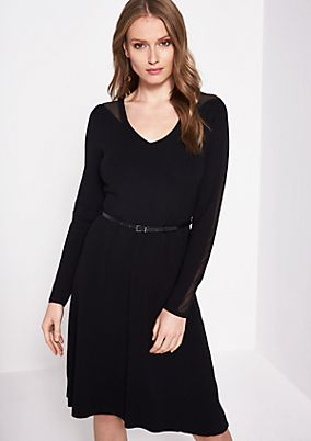 Fine knit dress with a narrow belt from comma