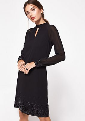Delicate crêpe dress with lace decorations from comma