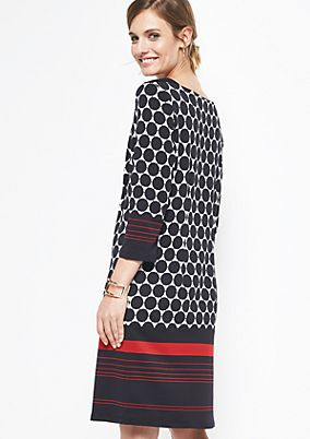 Casual 3/4-sleeve dress with an op art pattern from comma