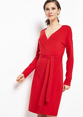 Soft knit dress with a wrap effect from comma