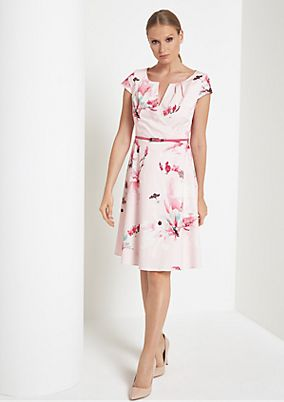 Evening dress with a decorative floral pattern from comma