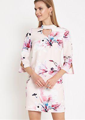 Elegantes 3/4-Arm Abendkleid mit Floral-Allovermuster