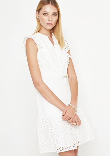 Lace dress with fine decorative frills from comma