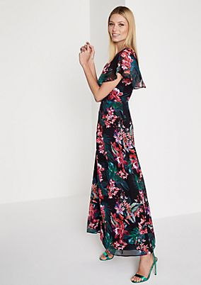 Crêpe maxi dress with a decorative floral pattern from comma