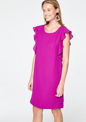 Elegant crêpe dress with flounce sleeves from comma