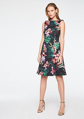 Cocktailkleid mit Tropical-Alloverprint