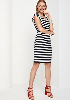 Striped dress with gathering from comma