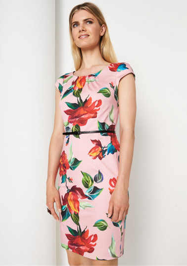 Business dress with a colourful floral pattern from comma