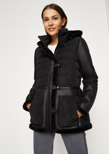 Trendy quilted jacket with faux leather patches from comma