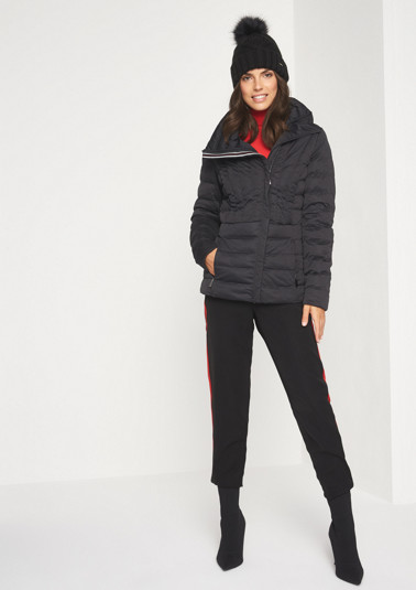 Sporty quilted jacket with a high stand-up collar from comma