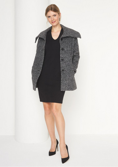 Warm coat in grey melange bouclé from comma