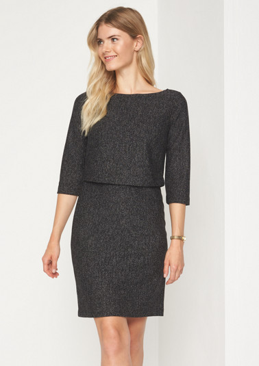 Elegant 3/4-sleeve shift dress in a tweed look from comma