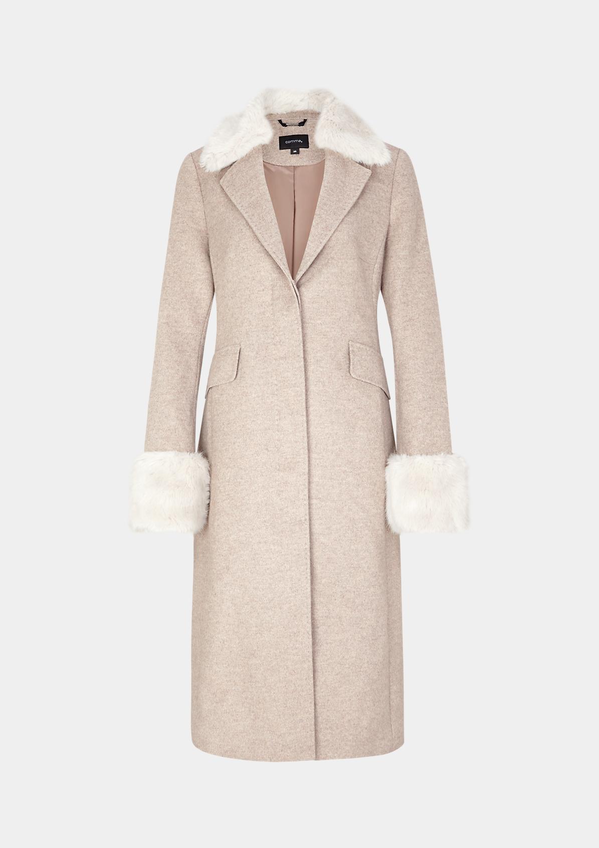 Wintermantel mit Fake-Fur Besatz