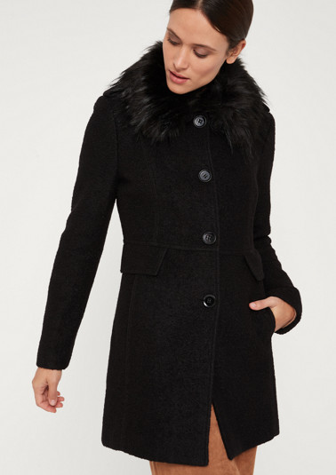 Bouclé coat with a fake fur trim from comma
