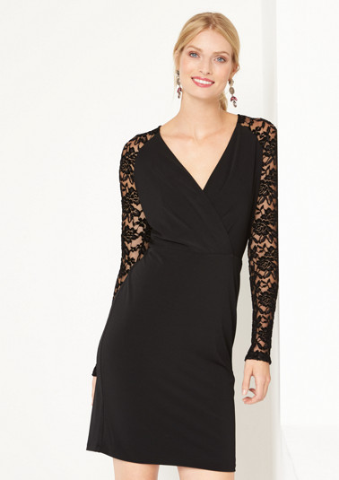 Crêpe dress with delicate lace embellishment from comma