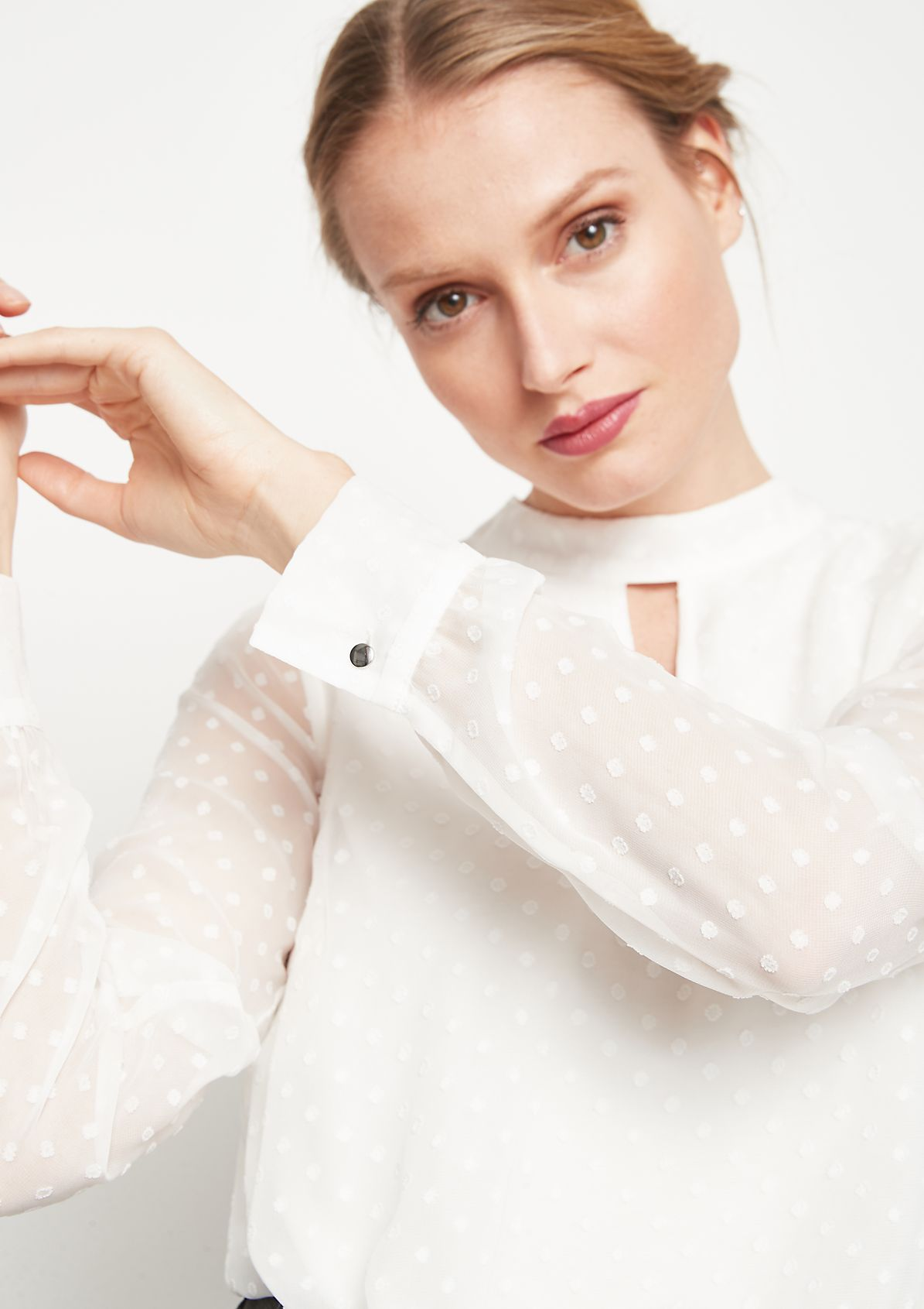 Delicate chiffon blouse with tonal polka dot pattern from comma