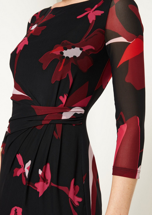 Elegantes 3/4-Arm Meshkleid mit Alloverprint