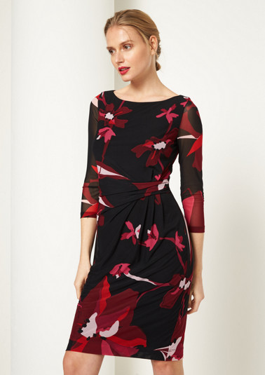 Elegantes 3/4-Arm Meshkleid mit Alloverprint