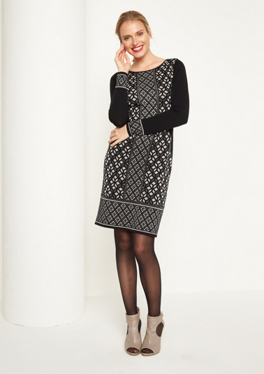 Soft knit dress with an ornamental pattern from comma