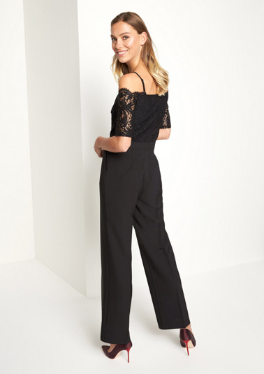 Off-the-shoulder business jumpsuit with delicate lace embellishment from comma