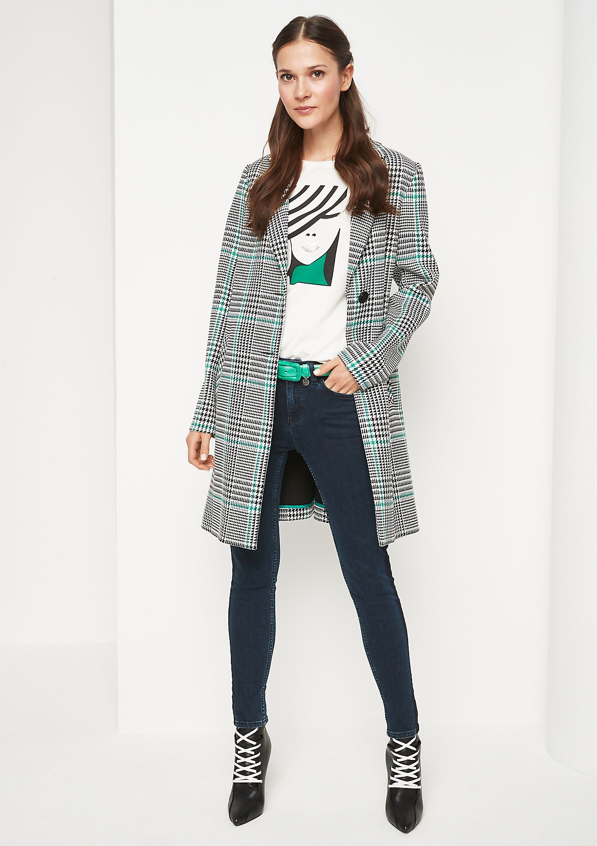 Blazer coat with Prince of Wales check pattern from comma
