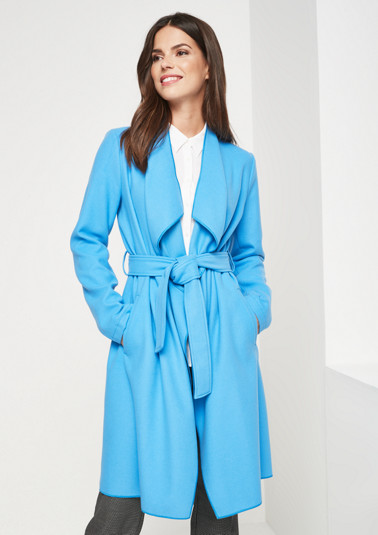Casual wrap-over coat with tie belt from comma