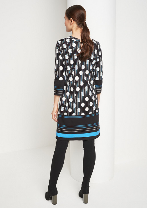 3/4-Arm Kleid mit Grafik-Allovermuster