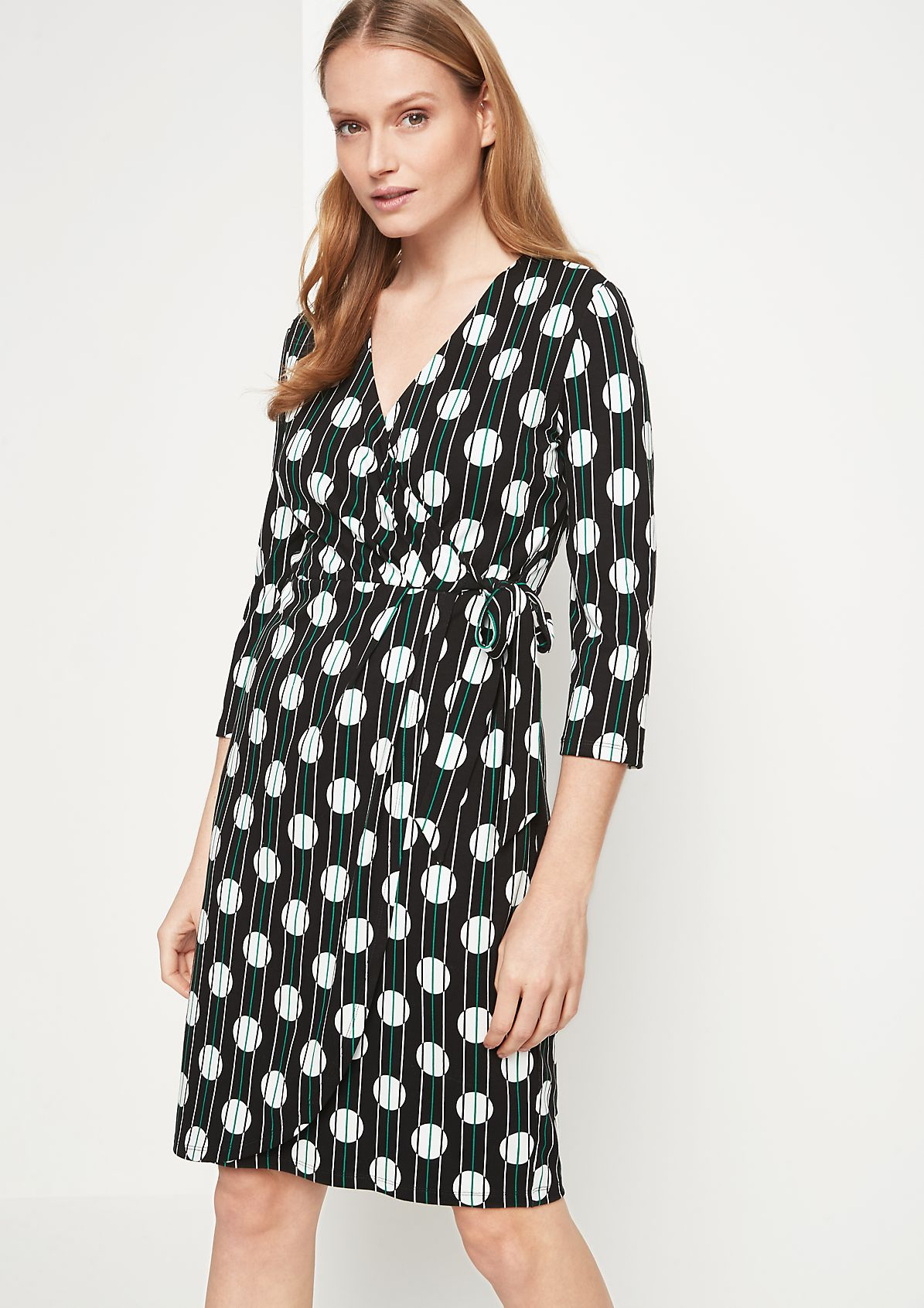 Jersey dress with 3/4-length sleeves and an all-over pattern from comma