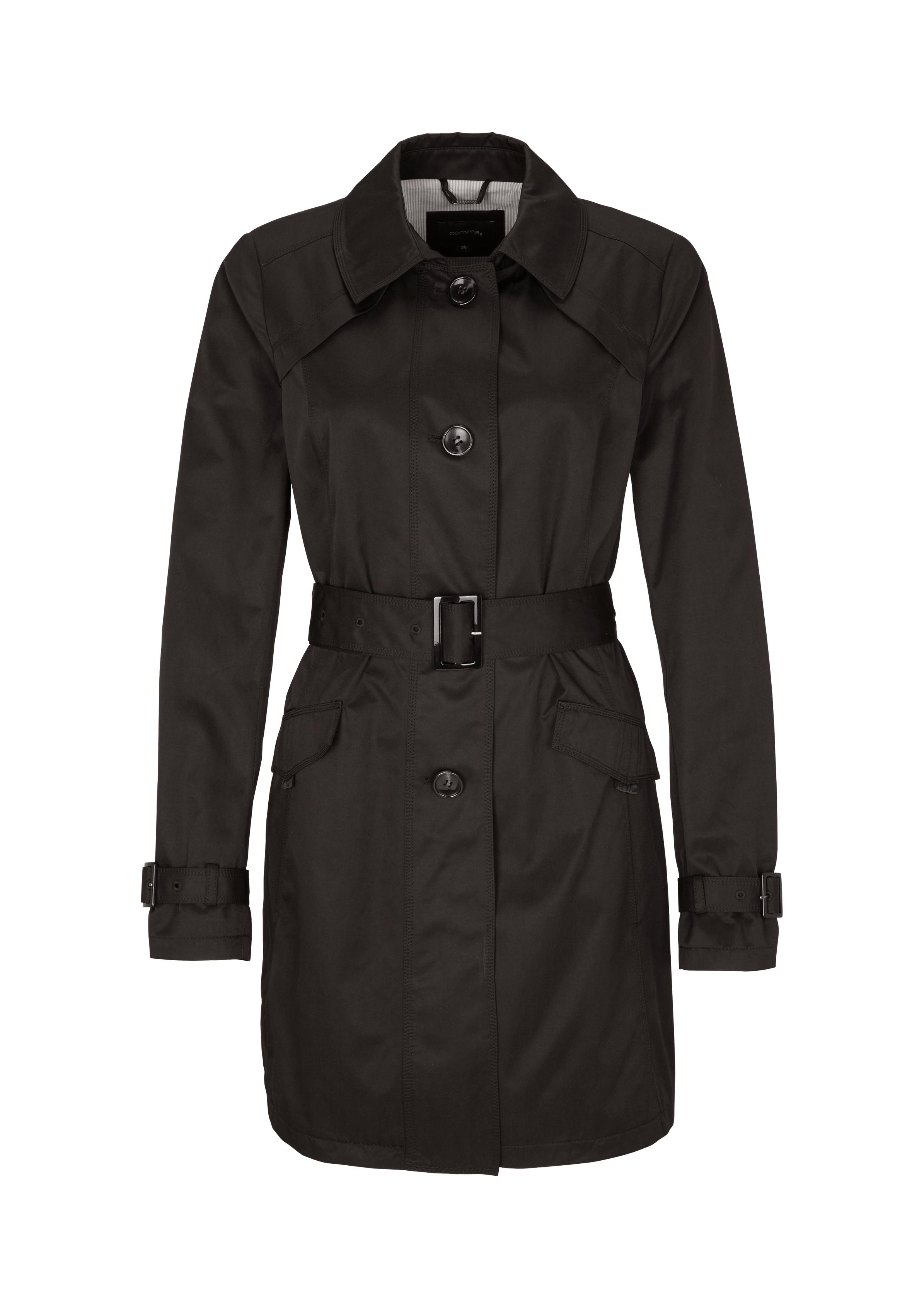 Trenchcoat | Bekleidung > Mäntel > Trenchcoats | Grau/schwarz | 50% baumwolle -  50% polyester | comma