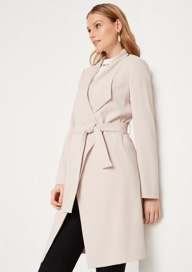 Manteau cache-cœur en crêpe à ceinture à nouer de Comma