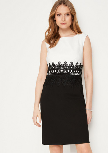 Sheath dress in a smart two-tone look from comma