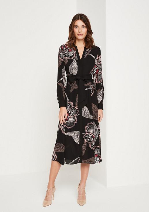 Zartes Blusenkleid aus Krepp mit modernem Print