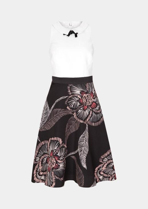 Elegantes Businesskleid mit dekorativem Musterspiel