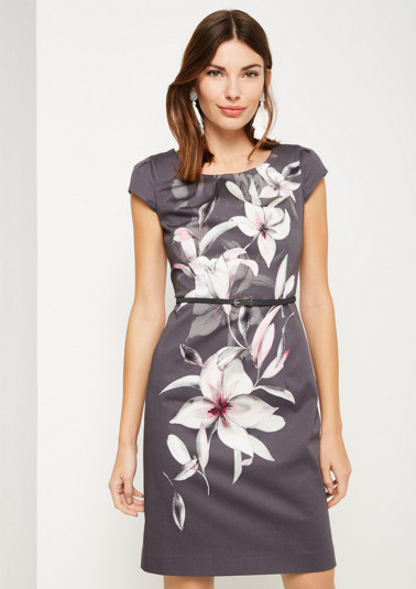 Sheath dress in satin with floral all-over print from comma