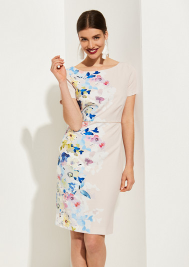 Sheath dress with a colourful floral pattern from comma