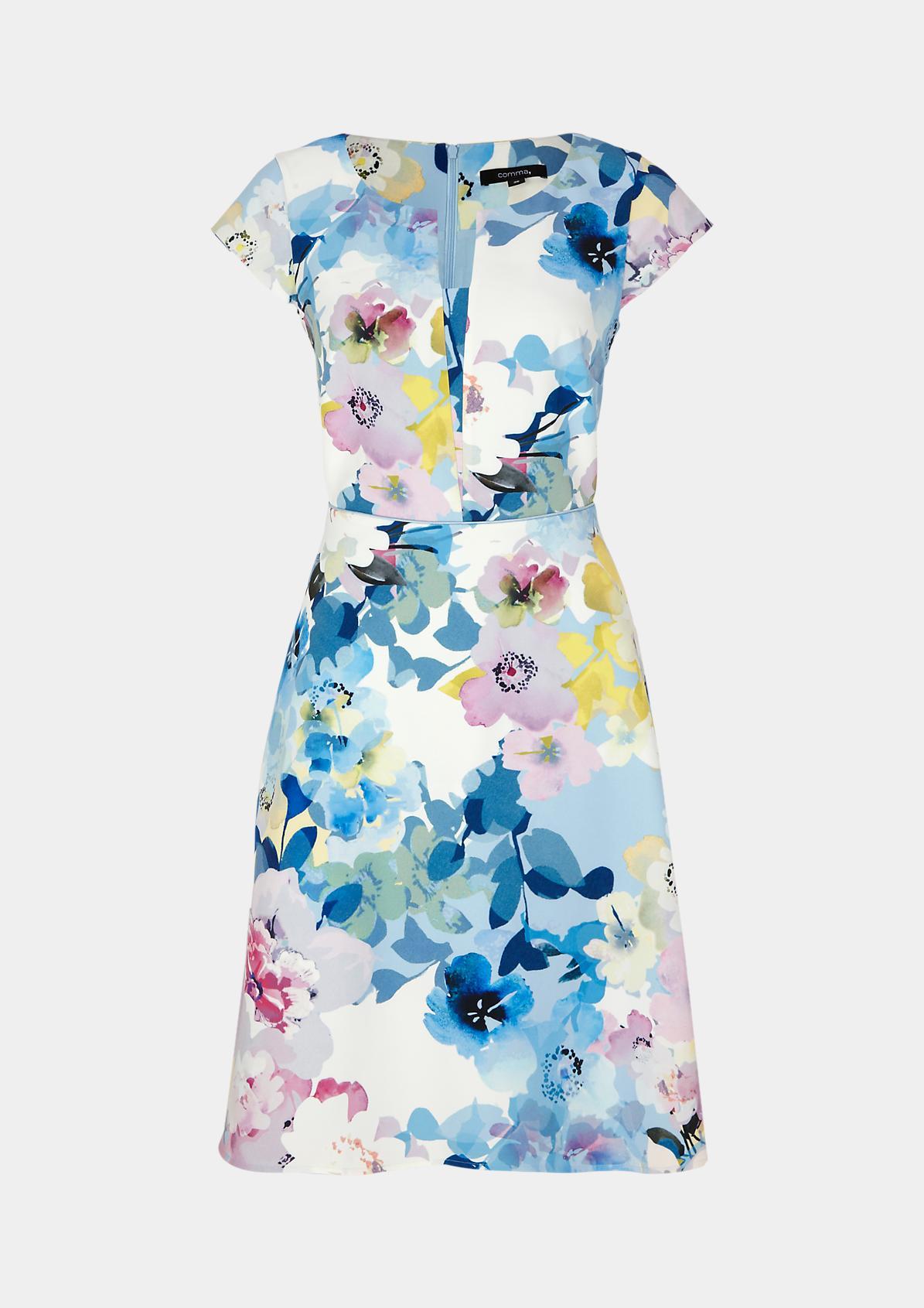 Kurzarmkleid mit farbenfrohem Floralmuster