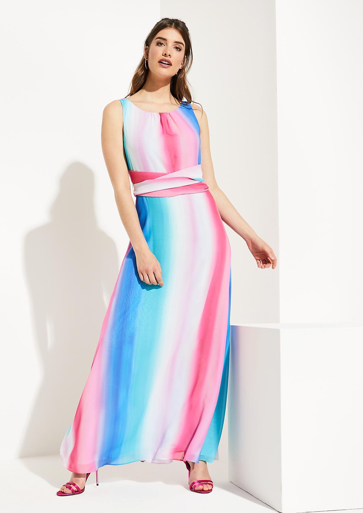 Zartes Kreppkleid mit farbenprächtigem Musterspiel
