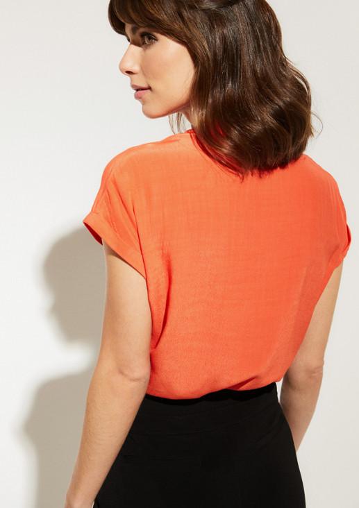 Kurzarm-Kreppbluse mit Brusttasche