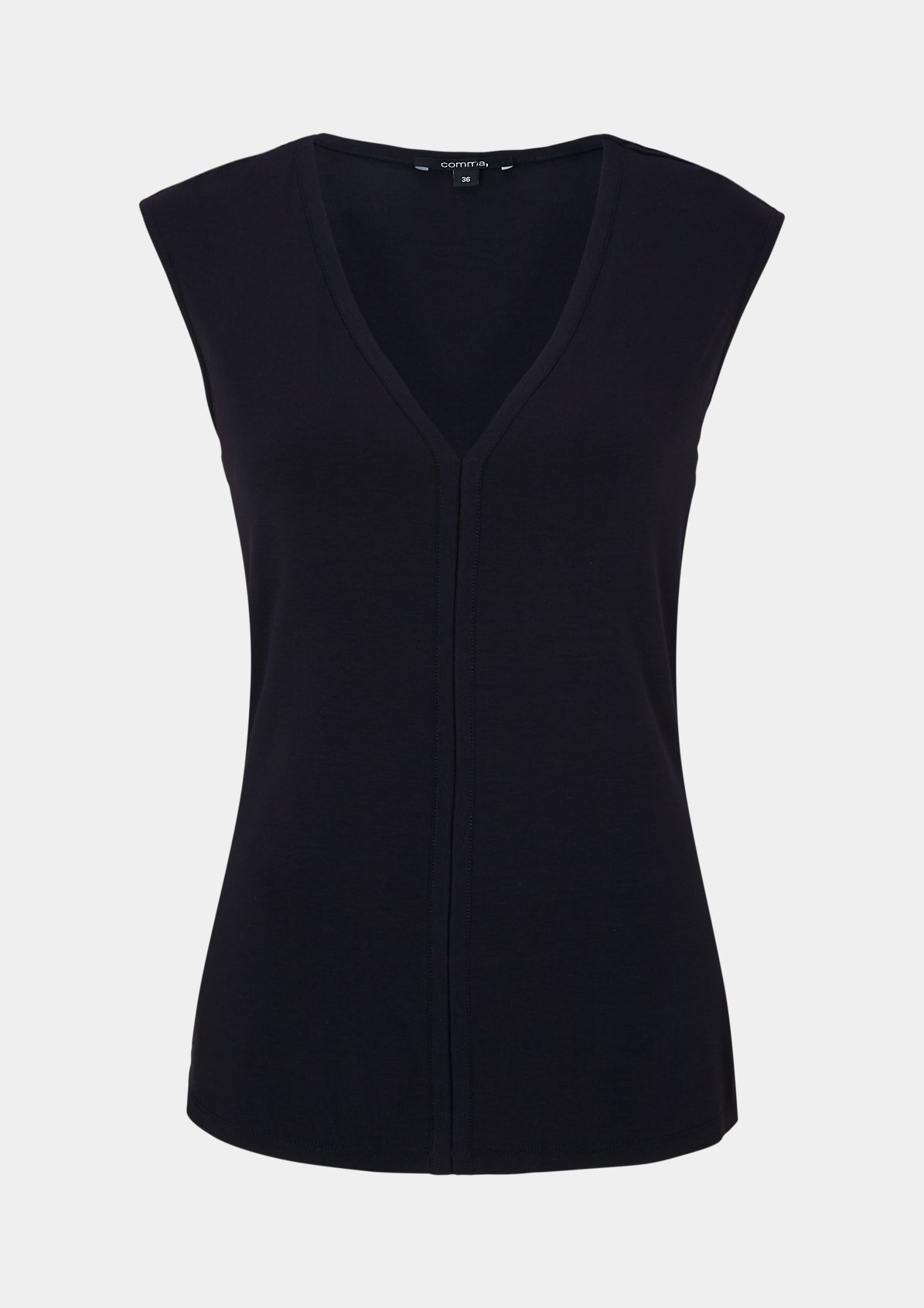 Casual jersey top with a V-neckline from comma