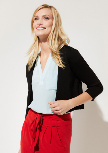 Short cardigan with 3/4-length sleeves and an exciting open-work pattern from comma