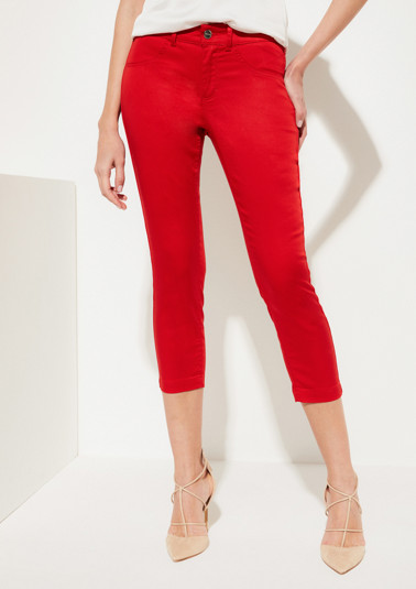 Fine, shiny satin trousers in Capri length from comma